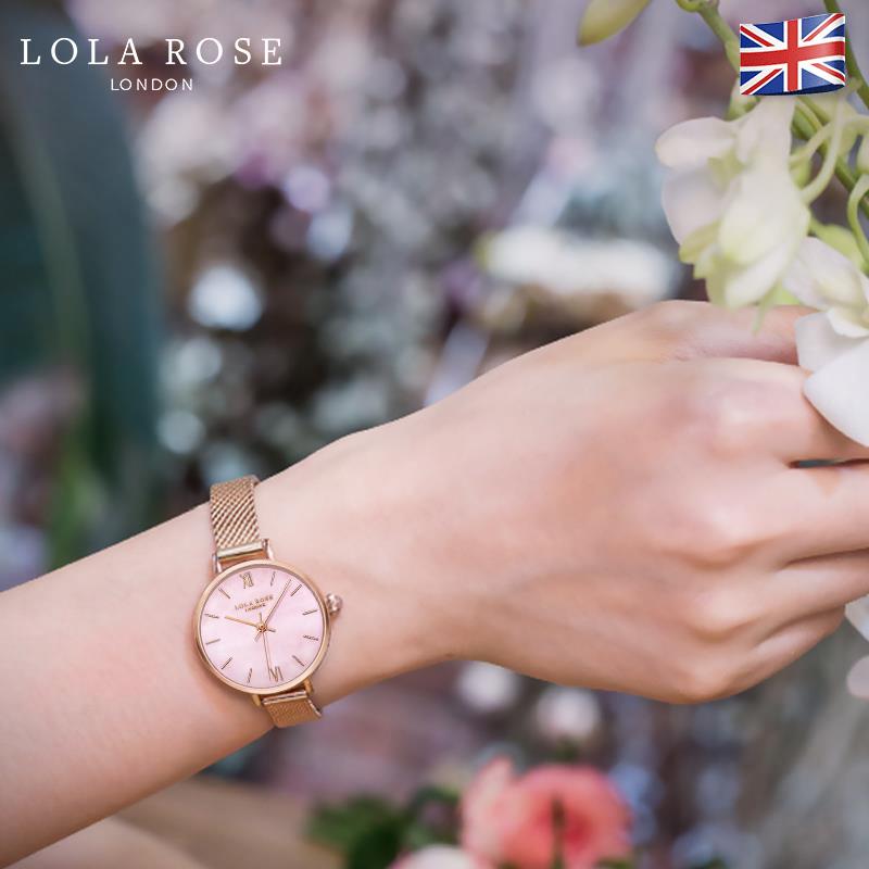 LolaRose樱花粉女表学生简约韩版女士抖音同款手表小众腕表