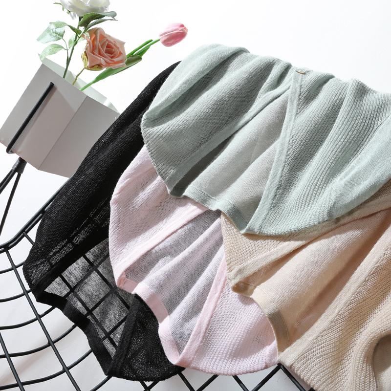 2018春装新款亚麻外套短款防晒外搭空调衫毛衣针织开衫女薄款夏季