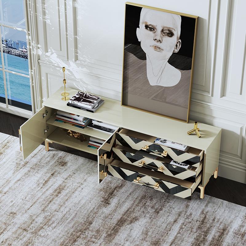 电视机柜北欧简约后现代客厅家具卧室轻奢茶几电视柜组合套装地柜