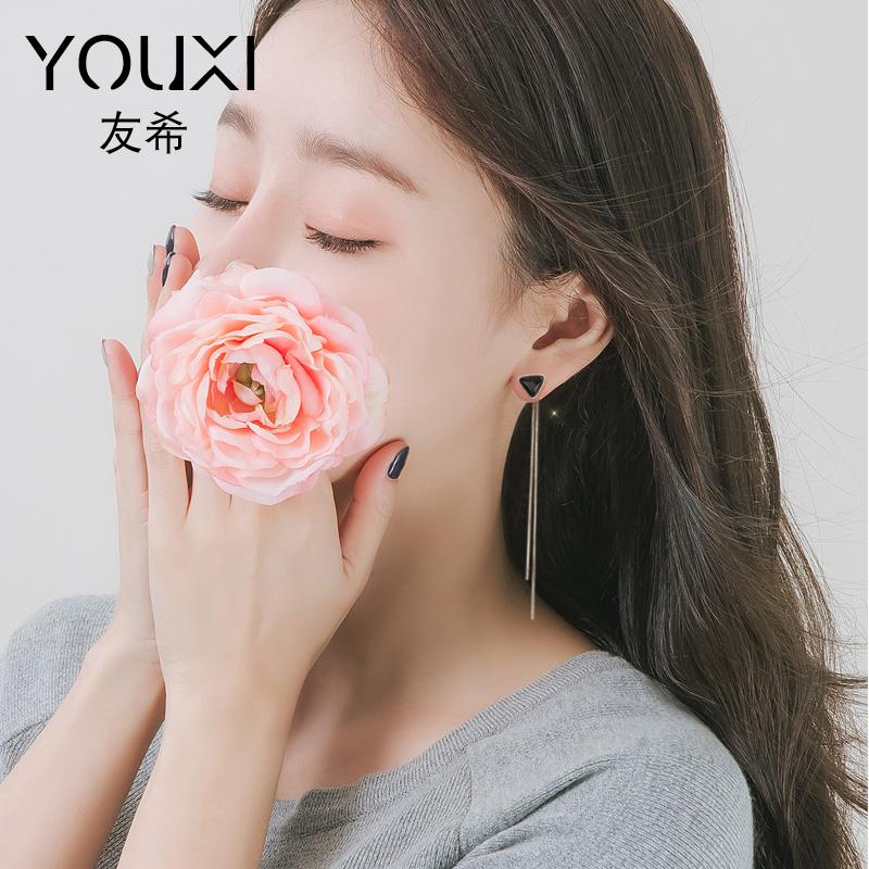 耳环女气质韩国个性感简约百搭网红耳坠长款水晶耳钉吊坠流苏耳线