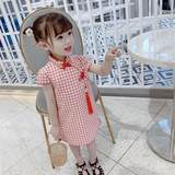 Small and medium girls summer new foreign style retro plaid dress baby Chinese style Phoenix pattern cheongsam