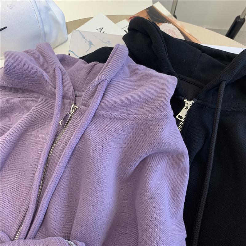 卫衣女春秋薄款2020新款韩版ins潮拉链紫色百搭宽松显瘦连帽外套