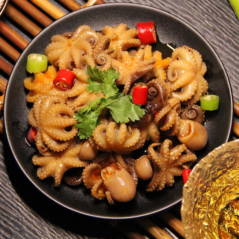 那片海迷你麻辣八爪鱼小海鲜章鱼香辣足鱿零食加热即可食熟食320g