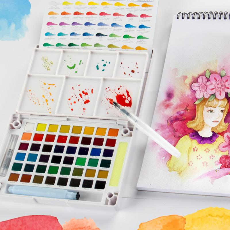 日本樱花泰伦斯24色固体水彩颜料套装18色30色36色48色水彩画纸套装分装固体水粉固彩便携透明水彩