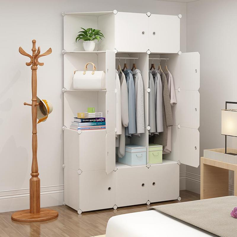 衣柜简易布衣柜租房全钢架衣橱可拆卸家用组装塑料收纳柜子经济型