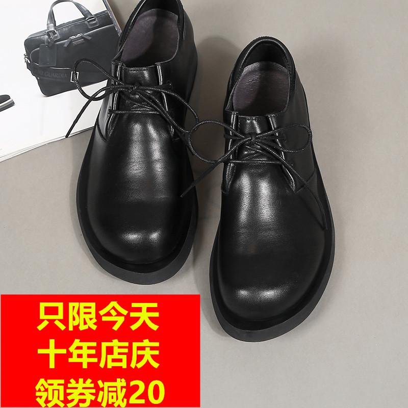 2019春秋季大头皮鞋真皮男鞋手工皮鞋低帮头层牛皮系带商务休闲鞋