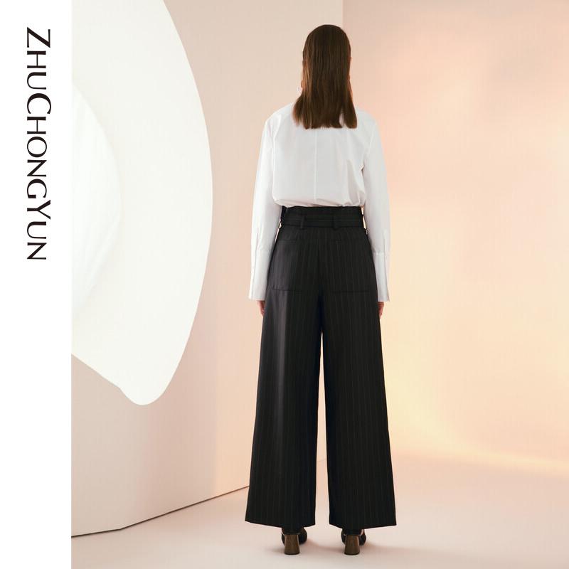 ZHUCHONGYUN朱崇恽2019冬新款原创设计女装小立领系带衬衫