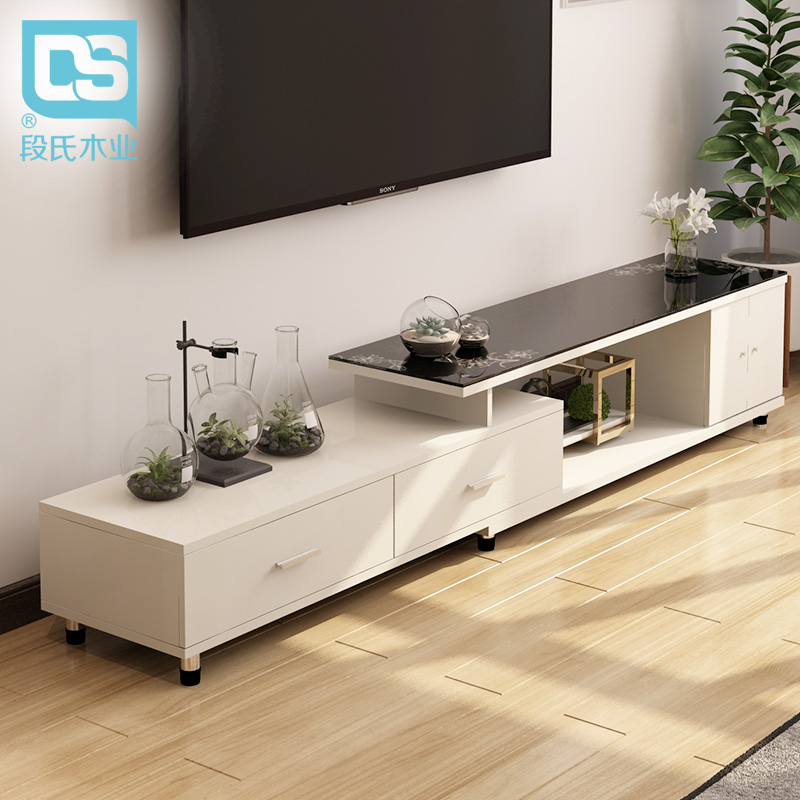 段氏钢化玻璃电视柜简约现代伸缩欧式电视机柜大小户型欧式视听柜