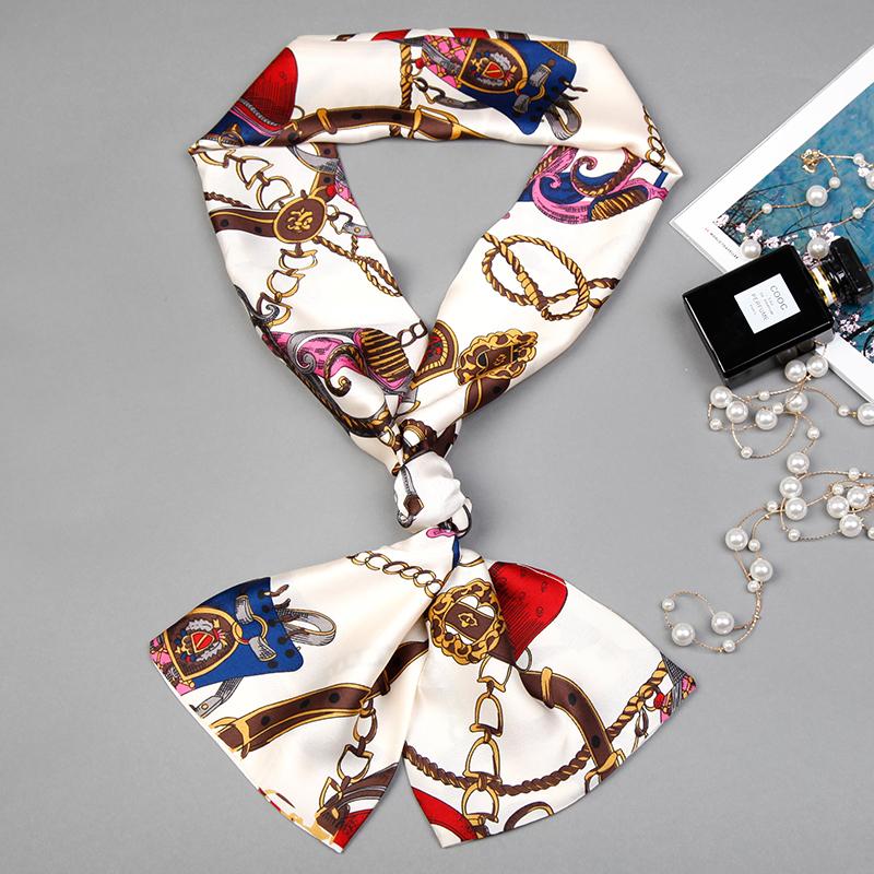2019好新款時尚防曬多用網紅小絲巾夏季脖子女士薄款長條領結絲帶