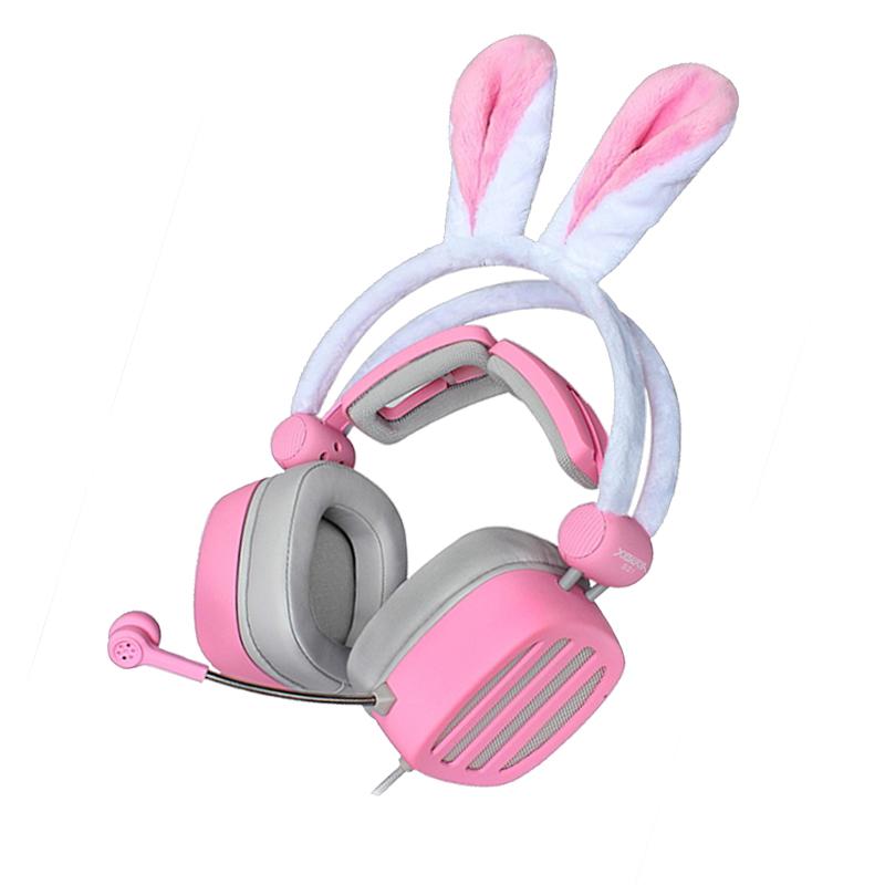 西伯利亚S21-pink耳机头戴式女生可爱粉色兔猫耳朵直播送
