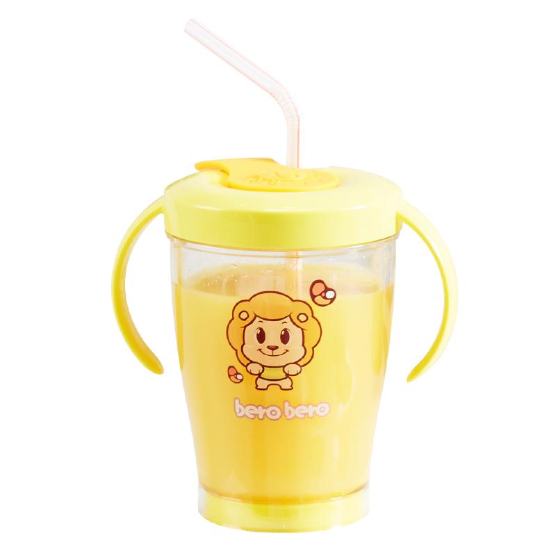 韩国儿童喝奶吸管杯戒奶杯泡奶杯防摔宝宝带刻度学饮杯水杯带手柄【图5】