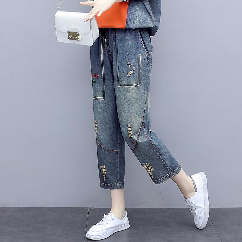 减龄拼接天丝短袖洋气牛仔裤两件套女装