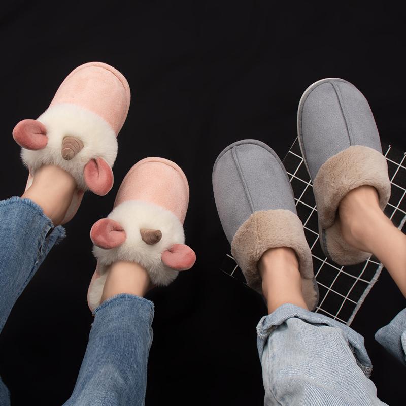 情侣棉拖鞋女冬2019新款可爱卡通棉拖室内居家地板拖冬季男士拖鞋