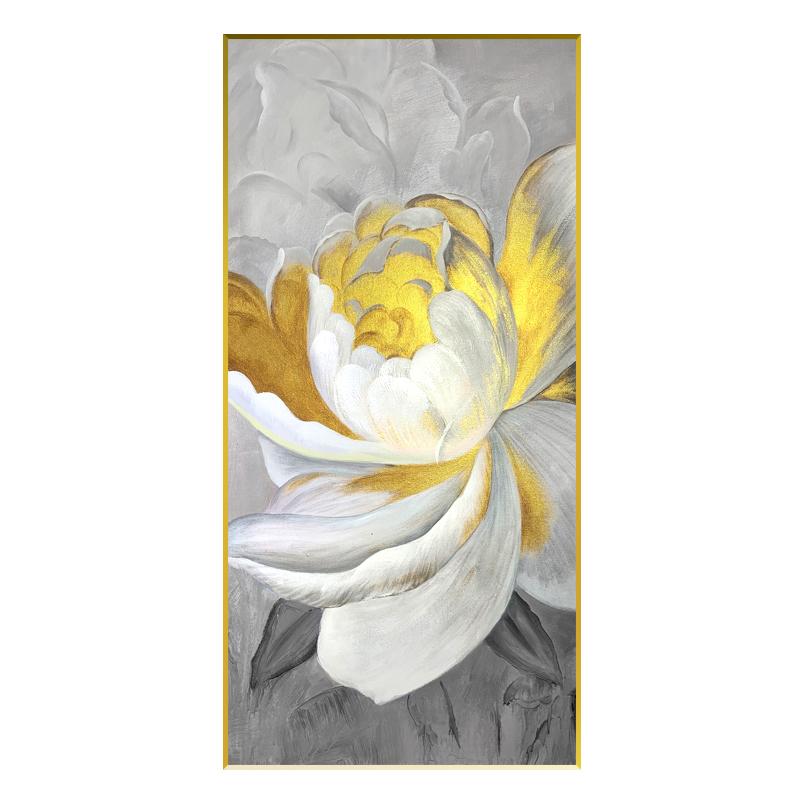 純手繪油畫牡丹花開富貴豎版走廊盡頭壁畫入戶玄關裝飾畫輕奢掛畫