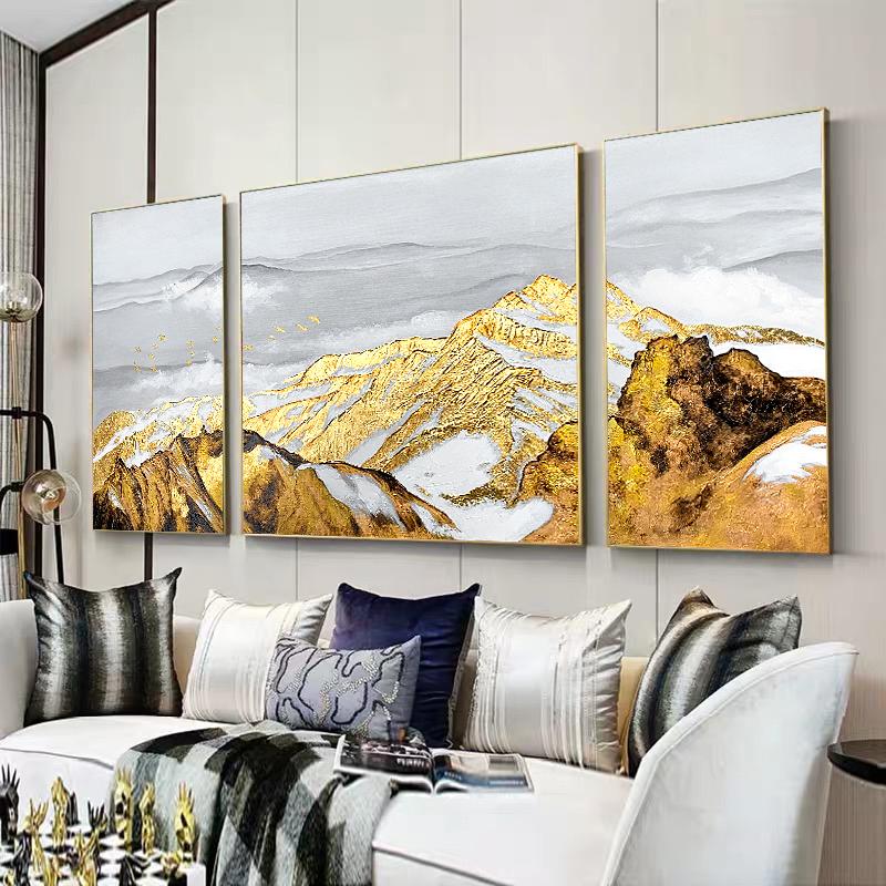 手绘油画客厅法式轻奢家庭装饰画厚笔触油花手工金山墙上立体挂画