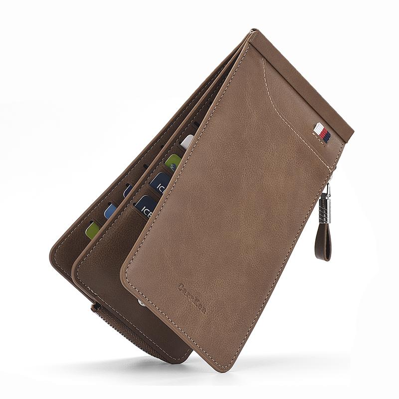 男士卡包多卡位銀行卡包信用卡套 女式超薄長款拉鏈錢包手機包潮