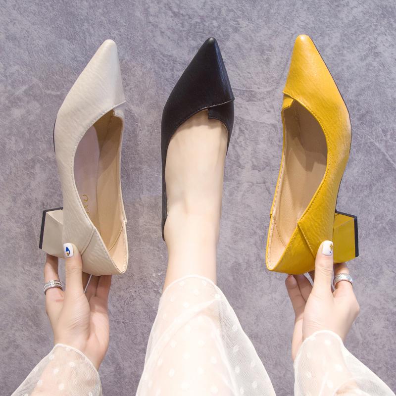 女鞋2020春秋季新款浅口尖头女士中粗跟单鞋网红晚晚两穿职业鞋子【图5】