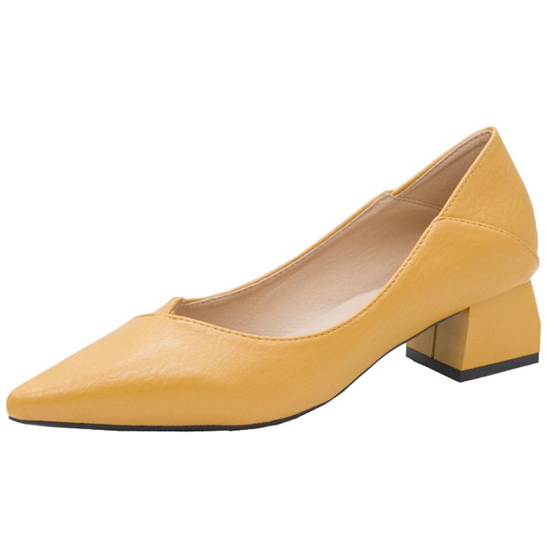 女鞋2020春秋季新款浅口尖头女士中粗跟单鞋网红晚晚两穿职业鞋子【图2】