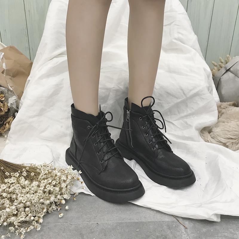 短靴女粗跟平底机车靴子女短筒潮 chic 秋冬新款马丁靴女英伦风 2018