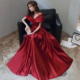 敬酒服新娘2019春季酒红色礼服现代显瘦孕妇2020结婚新款简单大气