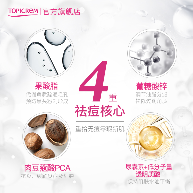 Topicrem 多重酸祛痘精华乳40ml  控油滋润保湿修护痘肌 No.3