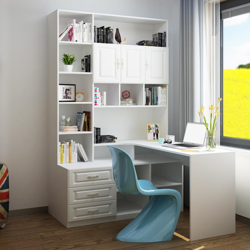 家用现代简约转角书桌衣柜组合一体柜电脑桌带书架定制台式学习桌