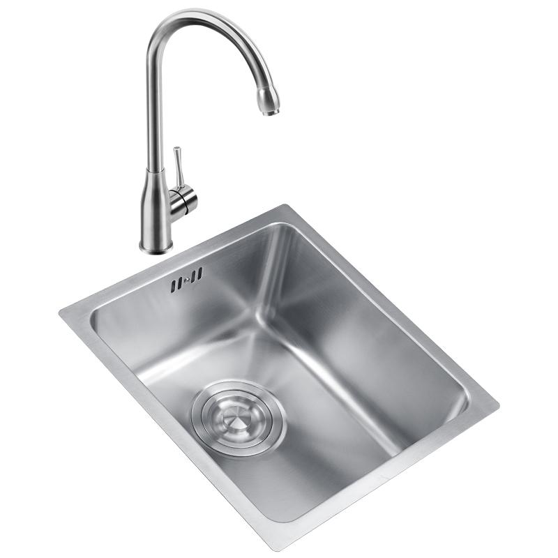 不锈钢吧台小水槽大单槽套餐加厚厨房阳台小洗菜盆洗碗池 304 韦普