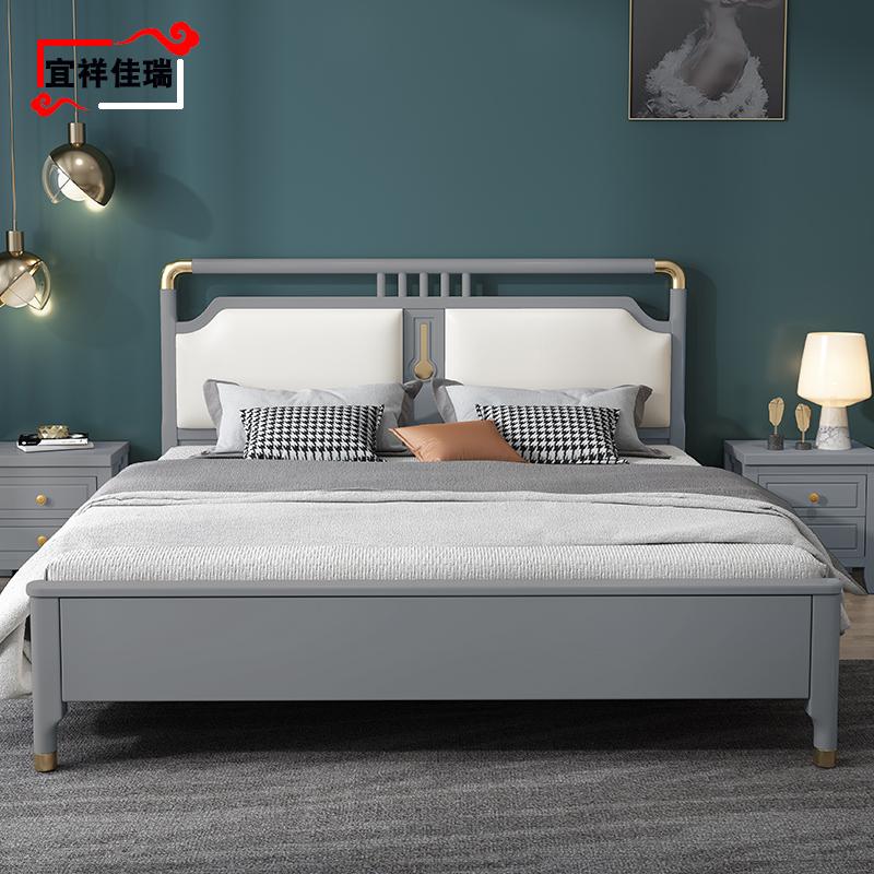 主臥橡木儲物婚床 1.5 米單雙人 1.8 現代簡約輕奢全實木床白色新中式