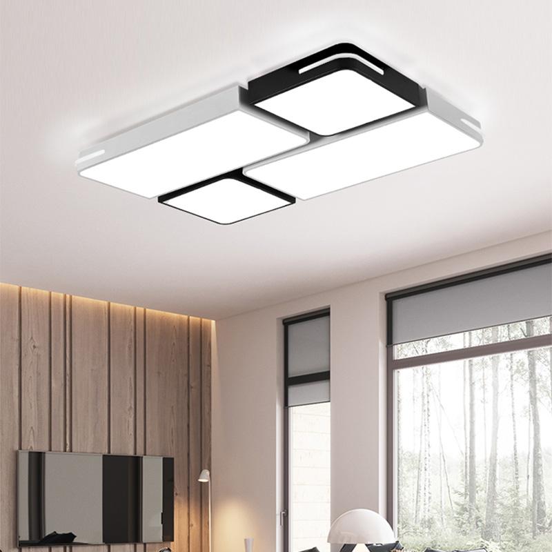 吸顶灯客厅灯套餐组合现代简约长方形客厅卧室黑白灯 led 欧普照明