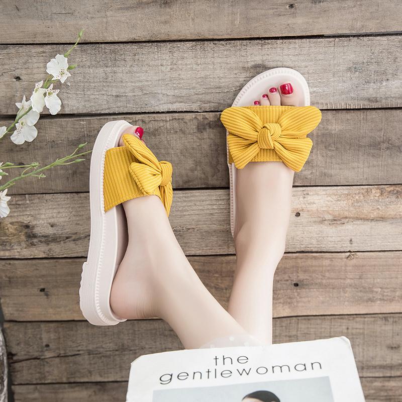 拖鞋女士2021蝴蝶结新款时尚外穿百搭厚底外出ins潮夏季运动凉拖