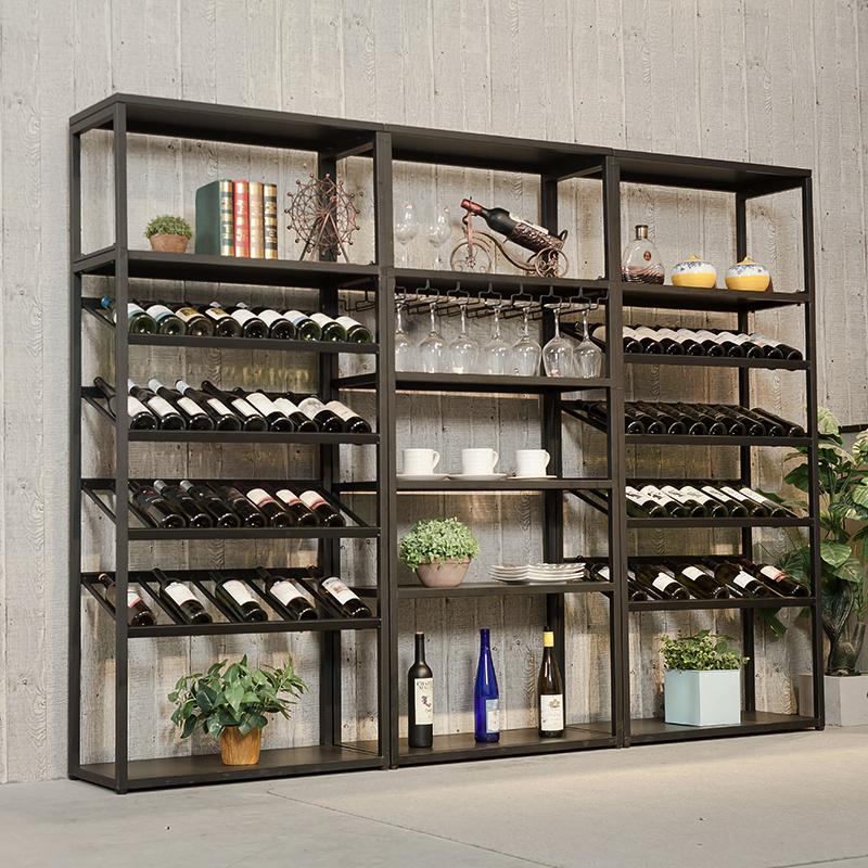 欧式铁艺红酒柜展示架落地酒吧酒架柜葡萄酒架置物架酒杯架红酒柜