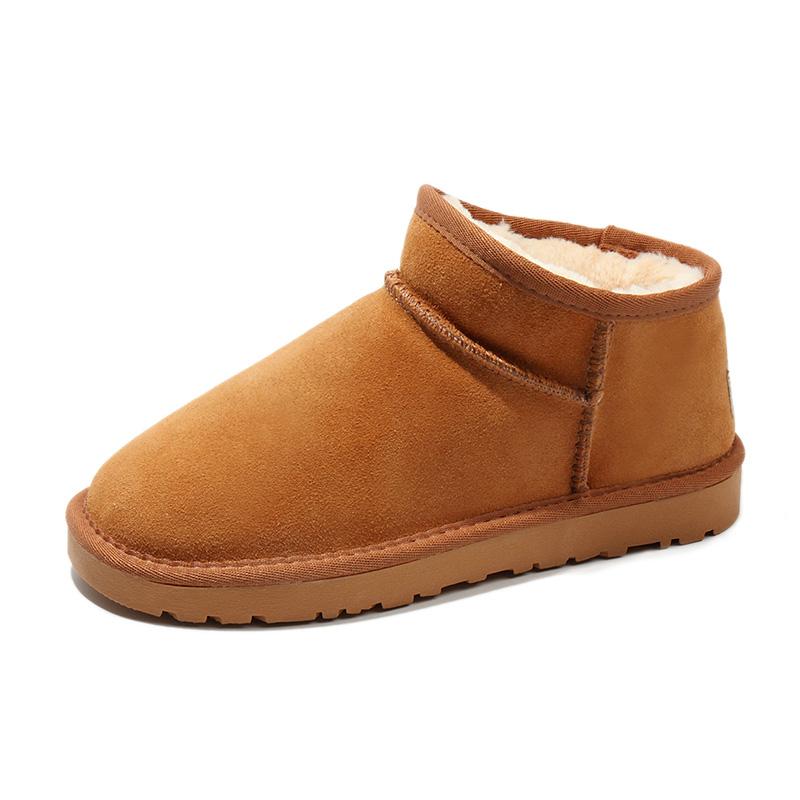真皮雪地靴女短筒靴一脚蹬时尚加厚雪地棉鞋子冬季保暖加绒面包鞋