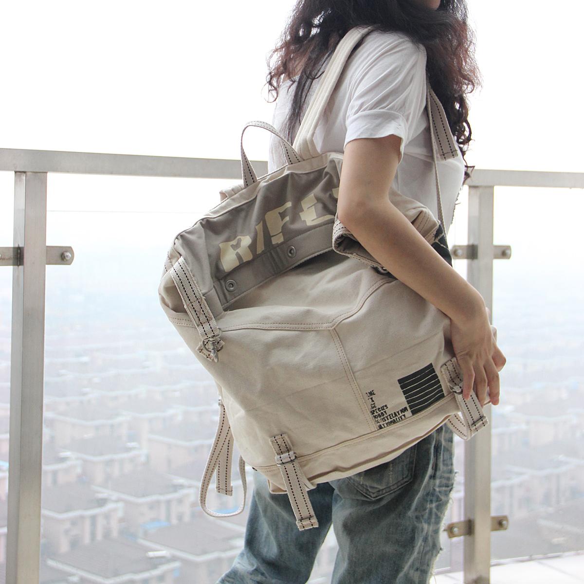 闰闰家大容量旅行韩版女学生书包潮男帆布包双肩包文艺范