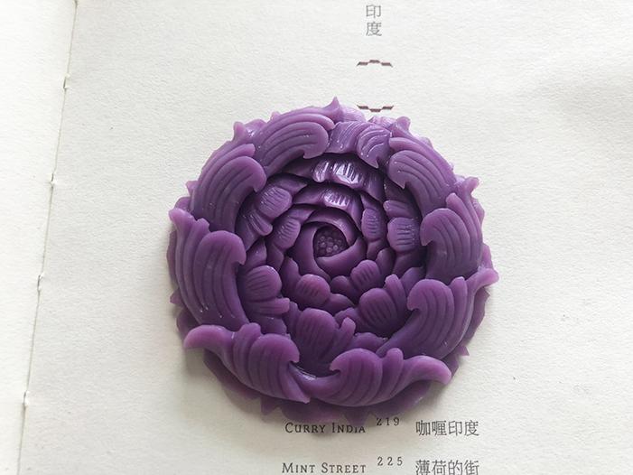 夏颜 好雕工极优质紫云母花鸟牌吊坠 超紫艳 优雅地盛放 绝美