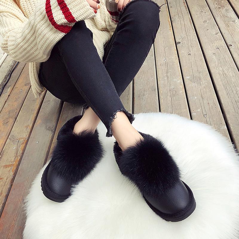 2019新款平底女鞋套脚白色毛毛鞋网红韩版百搭棉鞋学生短筒雪地靴