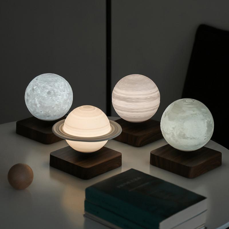 打印小夜灯睡眠卧室床头插电送男女友生日礼物品盒 3D 磁悬浮月球灯