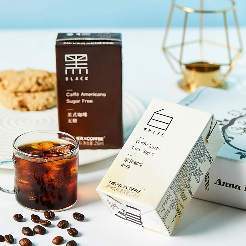 4.9分,0糖无奶精香精:250mlx6盒 NeverCoffee 美式即饮拿铁咖啡