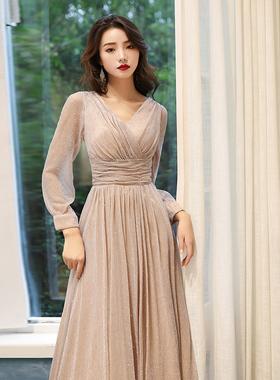 小个子晚礼服女2020新款宴会气质高端平时可穿长袖连衣裙伴娘秋冬