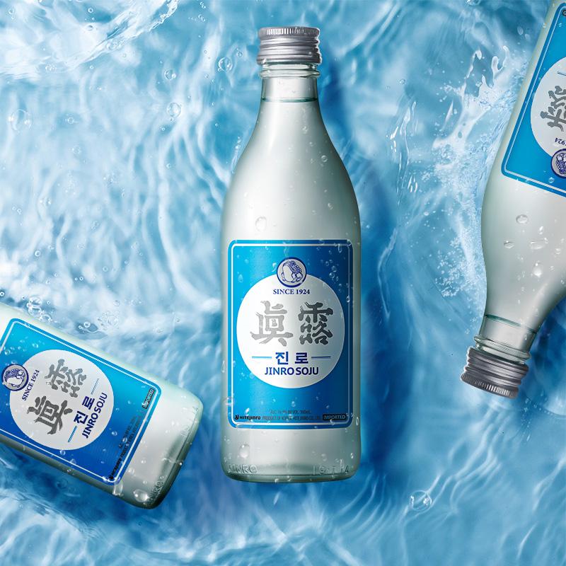 360ml 瓶原装进口 360ml 度 韩国真露烧酒复古升级版原味女士非清酒 16.9