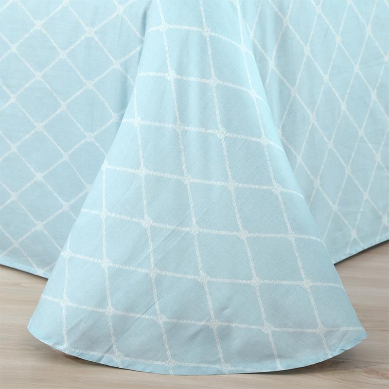 梦洁美颂纯棉四件套全棉简约花卉双人套件100%棉床单款清风解语