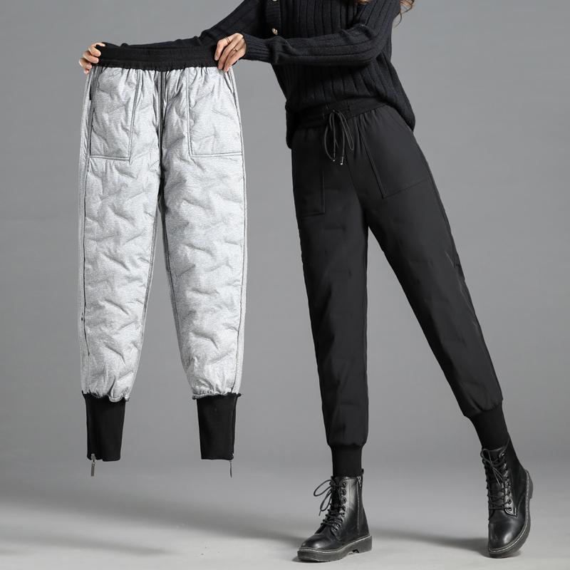 羽绒裤女外穿时尚高腰冬季 新款白鸭绒显瘦年轻款加厚保暖棉裤  2020
