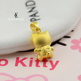 Gold 999 gold cat Hello Kitty backpack 3d hard gold pendant gold necklace female models KT bags Neckwear