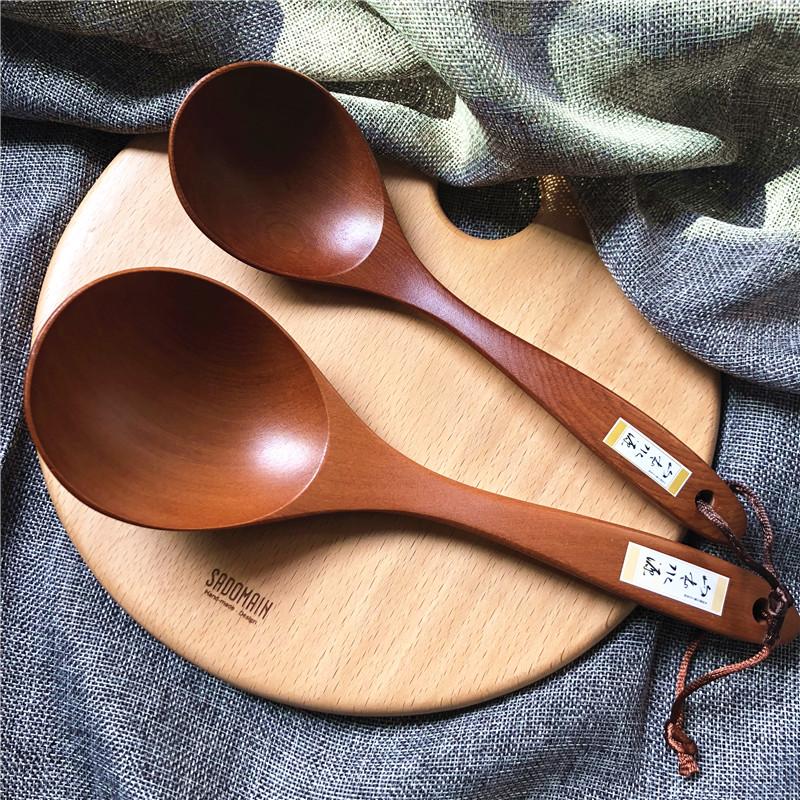 湯勺家用長柄實木彎勺臺灣仙德曼手工原木飯勺無漆大小日式湯勺