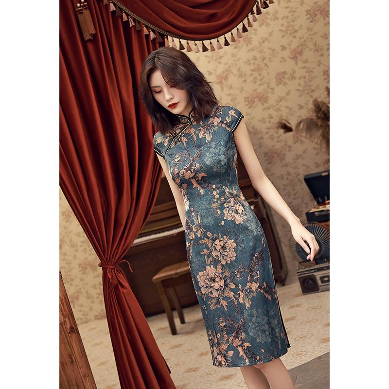 民国老上海旗袍2021年新款秋季少女改良年轻款高端复古妈妈连衣裙