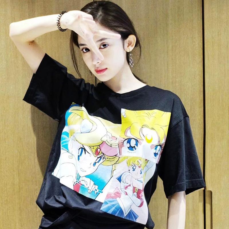 古力娜扎同款美少女战士水冰月卡通印花bf风短袖森系可爱学生T恤