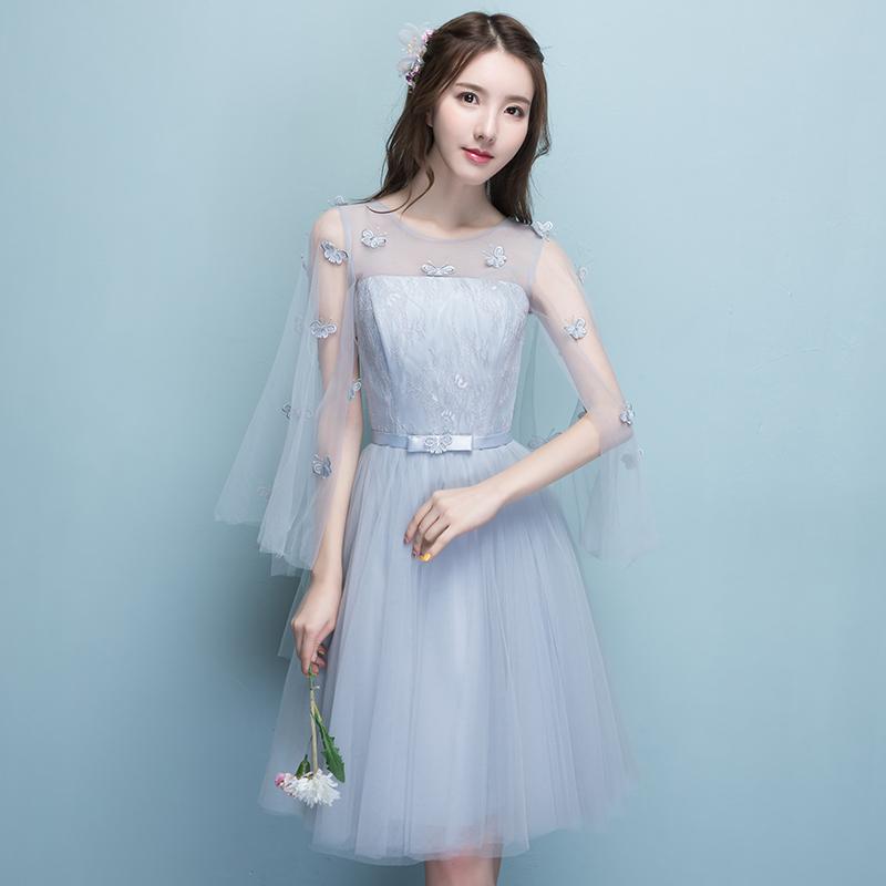 灰色伴娘服2019新款短款伴娘团姐妹裙毕业晚礼服连衣裙女显瘦夏季