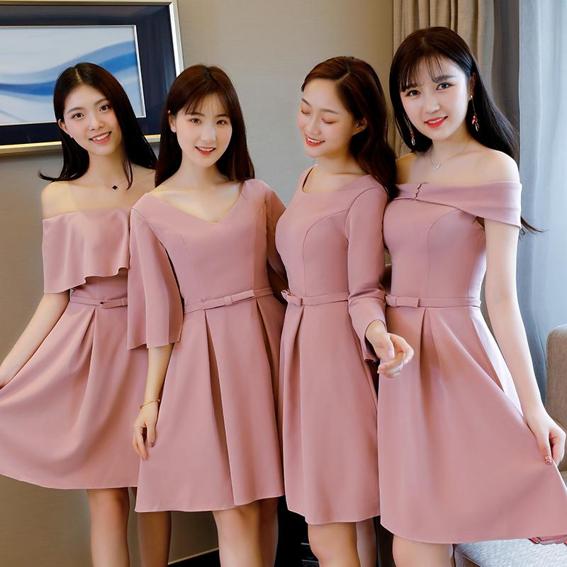 伴娘服短款2018新款粉色婚礼姐妹团伴娘裙晚宴小礼服韩式大码显瘦