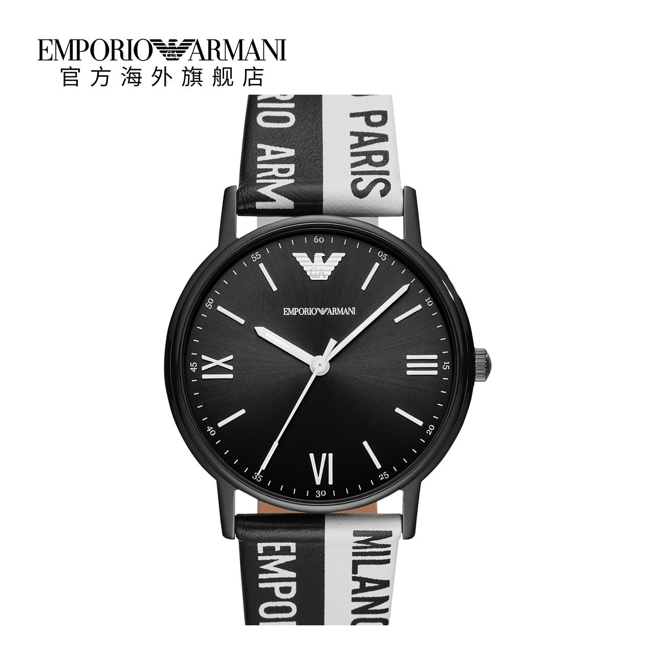 Armani阿玛尼正品独特设计皮带手表男 黑表盘男士腕表AR11254