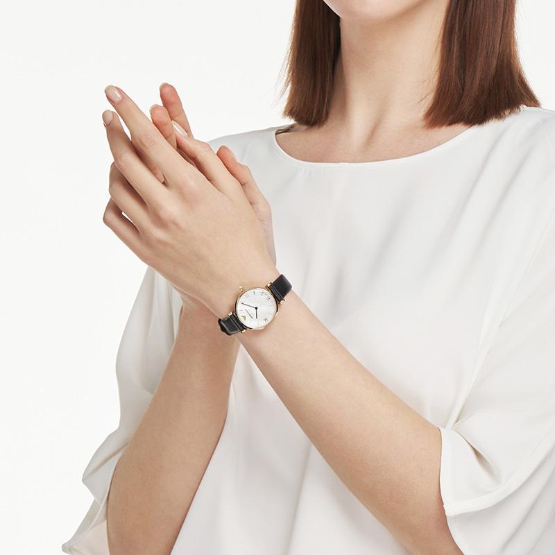 【官方】Armani阿玛尼皮革带小巧优雅腕表 时尚女士石英表AR1910