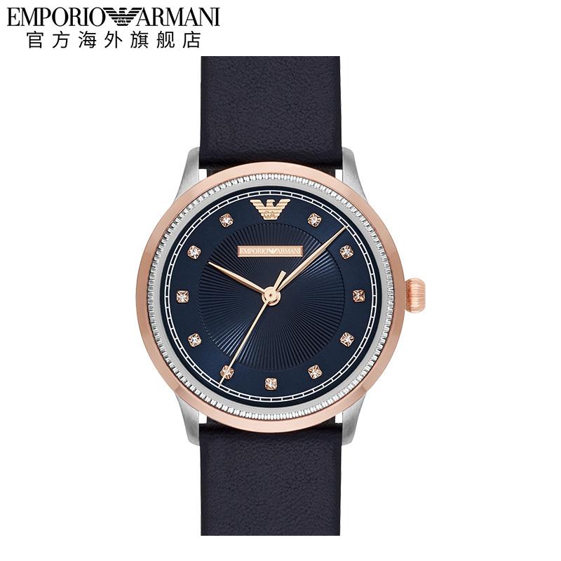【正品】Armani阿玛尼气质优雅蓝色时尚防水皮带手表女AR2066